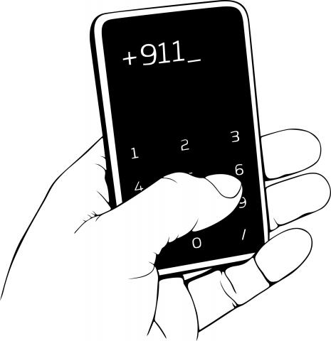 Dialling 9-1-1 on a cellphone